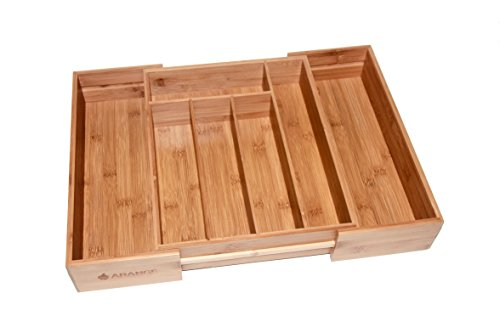 Large 3 inch Deep Expandable Bamboo Wood Cutlery Tray Drawer