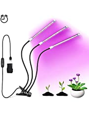 LED Grow Light, 27W Plant Grow Lights 3 Head 57 LEDs Lamp with Timer Function Red/Blue Full Spectrum for Indoor Plants, Adjustable Gooseneck, 3 Switch Modes Light Bulbs