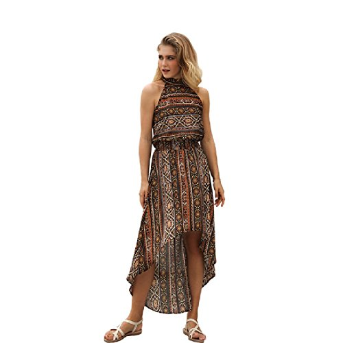 Dress Printed Floral Retro Unbalanced Long Women Brown Coolred Hem Beach yRw8ZUF6qx