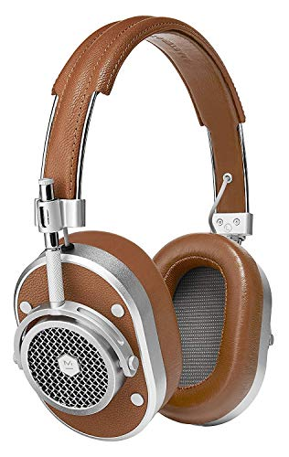 Master & Dynamic MH40 Premium Over-Ear Headphones, Award-Winning Closed-Back Wired Headphones with Superior Sound Quality, Silver Metal/Brown Leather