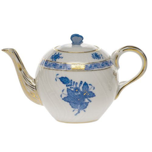 Herend Chinese Bouquet Blue Tea Pot With Butterfly