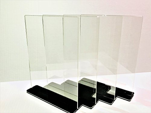 Single Wall Clear Jar (NPUS Ventures Acrylic Sign Holder: 8.5 x 11'', Double Sided, T Shaped with Stylish Jet-Black Cover - Great for Posting Signs, Menu Items, Pictures and Advertisement [4 Holders and 4 Sleeves])