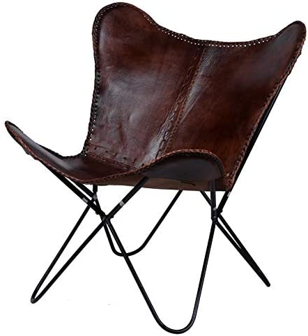 A B Home Brown Leanter Butterfly Leather Chair