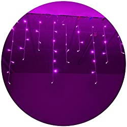 Lightspot Lcicle Lights 4M/13Ft 96 LED 8 Modes Curtain Window Decorative Room Patio Parties Rope String Xmas Wave Twinkle Light (4M 96LED, Purple)