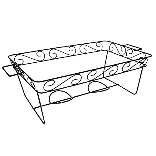 Party Essentials Elegance Full Size Heavy Duty Chafing Rack, Decorative Wire Buffet Rack Stand, Serving Trays Frame Food Warmer, Black (Case of 12) ()