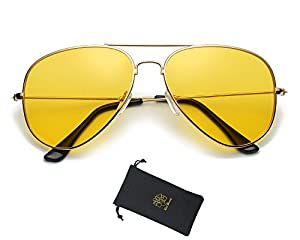 Red Peony Yellow Night Vision Polarized Aviator Sunglasses Mens Womens Driving Glasses AORON Design