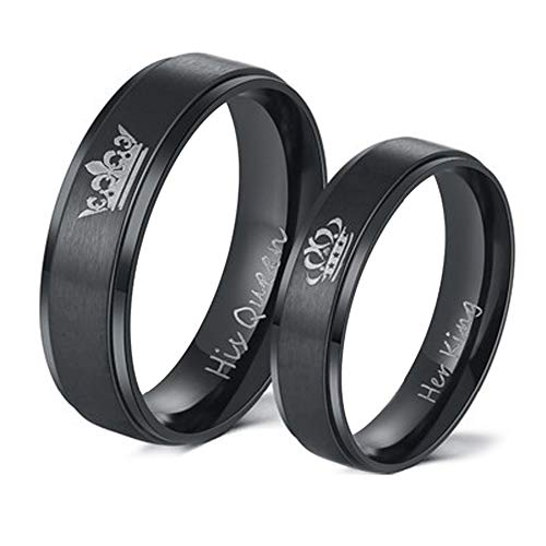 OUXUN Rings For Couples King Queen Crown Engraved Black Titanium Steel Wedding Anniversary Engagement Eternity Promise Relationship Rings For Him Her Camo Novelty Rings For Couples Set 2pcs Men 9 (Camouflage Wedding Rings For Him And Her)