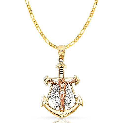 14K Tri Color Gold Jesus Crucifix Anchor Pendant with 2.3mm Figaro 3+1 Chain Chain Necklace - 20
