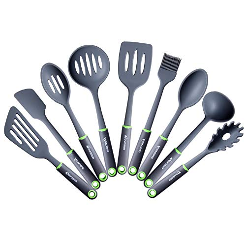 Silicone Cooking Utensils Set, Novosun Kitchen Utensil Set with Holder Include Steak Spatula Turner Spoon for Nonstick Cookware Non-Toxic Heat Resistant Kitchen Tools Gift (9 PCS)