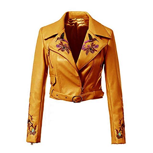 LADY ANGEL Women Floral Embroidered PU Leather Jacket Long Sleeve Short Bomber Zipper ()