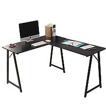 Dland L-Shaped Computer Desk Double Home Office PC Laptop Desk Triangular Fixed T-Type Frame Corner Table Modern Workstation, Black