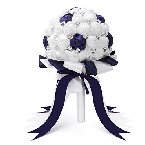 Large Wedding Bouquet - FAYBOX Crystal Satin Rose Bridal Bridesmaid Bouquets Wedding Flower Decor