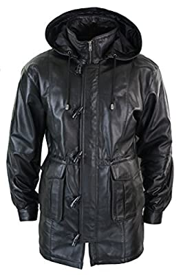 LLD Mens 3/4 Long Real Leather Duffle Jacket Coat Safari Detachable Hood Classic black XS