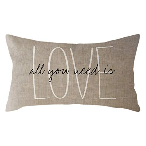 Chenway Simple Couple Linen Hug Pillowcase Love Letter Printing Adult Living Room Cushion Pillowcase for World of Two People Home Sofa 30×50cm (A)