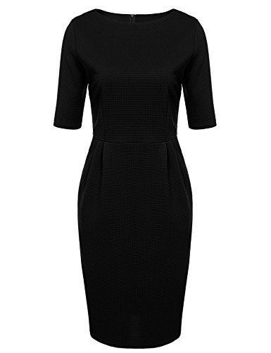 ANGVNS Women Half Sleeve Above Knee Length Wear To Work Bodycon Dress, Black, - Pics Black Thick