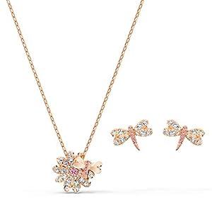 Swarovski Conjunto Eternal Flower Dragonfly, rosa, baño tono oro rosa Swarovski Conjunto Eternal Flower Dragonfly, rosa, baño tono oro rosa Swarovski Conjunto Eternal Flower Dragonfly, rosa, baño tono oro rosa