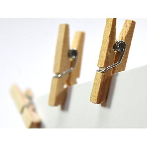 Lot de 25 - Mini pince à linge bois 10x25mm - minis pinces à linge, chevilles en bois, cartes postales, photos, décoration, cotillons,clips, attache en bois Mini piquets bois naturel [REF-T4Q_1945]
