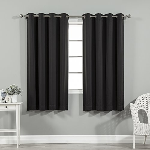 Best Home Fashion Thermal Insulated Blackout Curtains - Stainless Steel Nickel Grommet Top - Black - 52