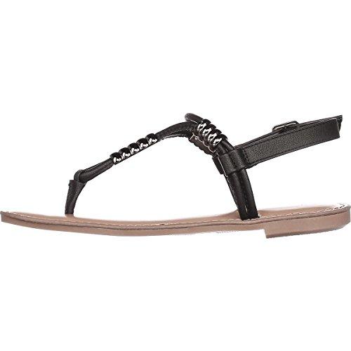 Bar Iii B35 Vortext Platte Sandalen Met T-strap - Zwart