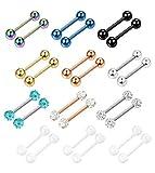 Finrezio 14G 12-18MM Stainless Steel Nipple Tongue Ring Barbell Nipplerings Body Piercing Jewelry