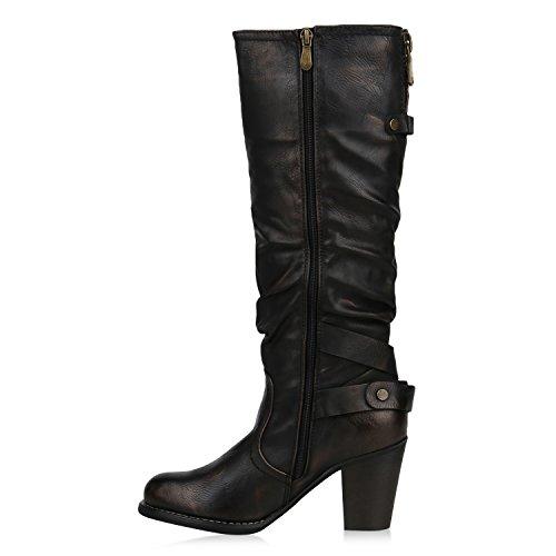 Stiefelparadies Klassische Damen Stiefel Leicht Gefütterte Boots Basic Leder-Optik Schuhe Damenstiefel Trichter Absatz Damenschuhe Booties Flandell Bronze