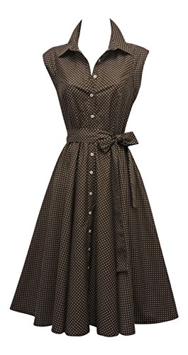 New Retro Vtg 1940's 1950's Shirt Tea Dress with Small Polka Dots