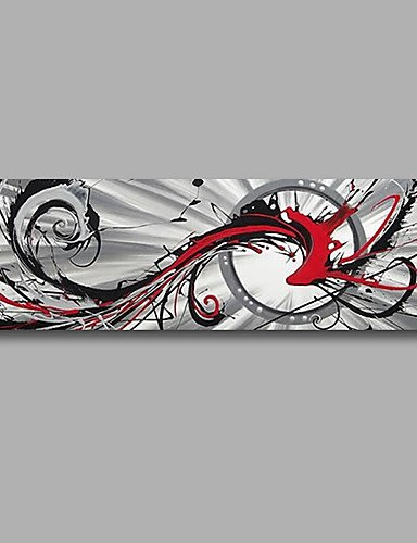 FMY Stretched (Ready to hang) Hand-Painted Oil Painting 48''x16'' Canvas Wall Art Modern Abstract Grey Red Black by Rosie