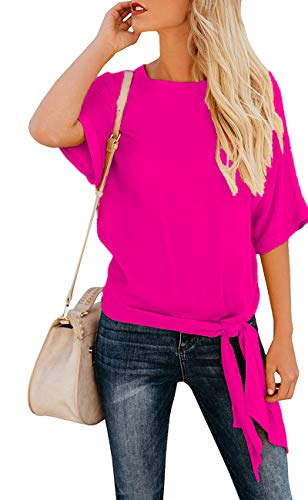 OURS Women's Casual Knot Tie Front Half Sleeve Summer T Shirt Blouses Tops (Rose Red, M) ()