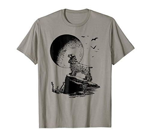 Halloween Cocker Spaniel T-Shirt, Dog Howling Apparel