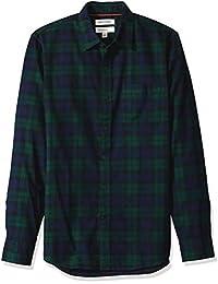 Men's Slim-fit Long-Sleeve Brushed Flannel Shirt