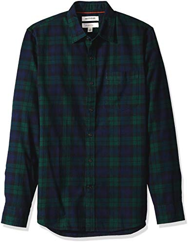 Cotton Mens Check Brushed - Goodthreads Men's Slim-Fit Long-Sleeve Brushed Flannel Shirt, Navy Black Watch Plaid, X-Small