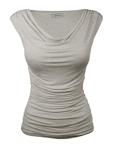 CLEMONCE Outlet Women's Ruched Cowl Neck Sleeveless Jersey Tank Top Hgrey L