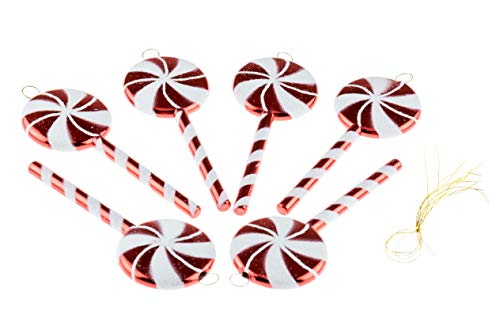 (Shatterproof Christmas Tree Lolipop Ornaments by Clever Creations | Red and White Colored Sparkling Glittery Christmas Decor | 4 Piece Set Perfect for Christmas Decorations)