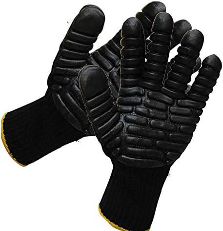 労働保護作業用手袋 メンズ作業用手袋滑り止め通気性保護手袋 (Color : Black, Size : L)