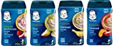 Gerber Baby Cereal Assorted Flavor Variety Pack: Oatmeal & Peach Apple Cereal, Rice & Banana Apple Cereal, Oatmeal & Banana Cereal, Hearty Bits MultiGrain Banana Apple Strawberry Cereal. Bundle of 4- 8oz Containers