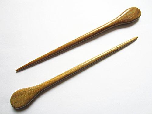Myhsmooth Zz-gs-yt 2 Count Hair Sticks Natural Green Sandalwood Handmade Carved Hair Clip Shawl Hair Pins Pack of 2 Pcs
