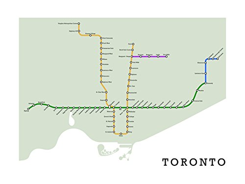 Toronto Subway Map Print.Amazon Com Toronto Subway Map Handmade