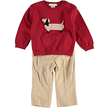 Carriage Boutique Boys Pullover Sweater and Pants Set with Scotty Canines