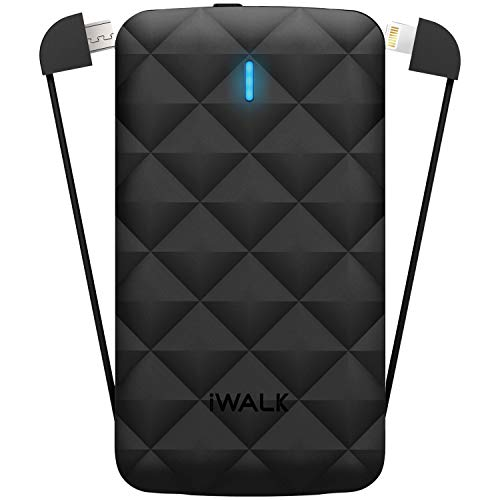iWALK Duo Universal 3000mAh Rechargeable Backup Battery with LED Display & Built-in MFI/Micro-USB Flexible Cables -