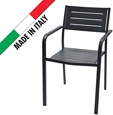 RD Italia - Silla apilable, diseño moderno, de metal, color antracita, para exterior, jardín, terraza, patio, bar, restaurante: Amazon.es: Jardín