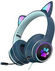 BJJH Outdoor Gaming headset met microfoon, afneembare Cat Ear hoofdtelefoon vrouwen oplichtende bedrade headset voor PS4, Xbox One, Switch, 3,5 mm adapterkabel (donkerblauw)