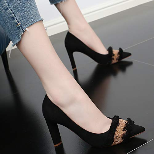 Heel Comfortable Shoes Pearl Heel Simple Fashionable Women'S Suede SFSYDDY High 9Cm Black Shallow Pointy 0Ba0v7qT
