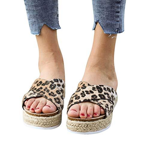 Forthery Women's Leopard Platform Espadrilles Criss Cross Slide-on Open Toe Faux Leather Studded Summer - Faux Leather Footwear