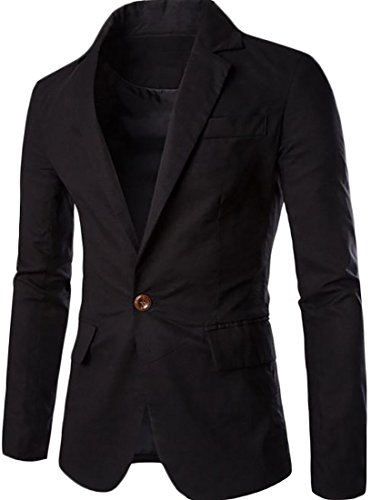 Lined Blazer Pinstripe (Fulok Men's Classic One Button Lined Cotton Suit Jacket Blazer Coat Black XL)