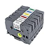 Combo Set Label Tapes TZ131 TZ231 TZ431 TZ531 TZ631 TZ731 12mm x 8m, 1/2'' x 26.2ft, Compatible for Brother P-Touch Printers PT-D210,PT-H110Cube,PT-E110, 6 Pack