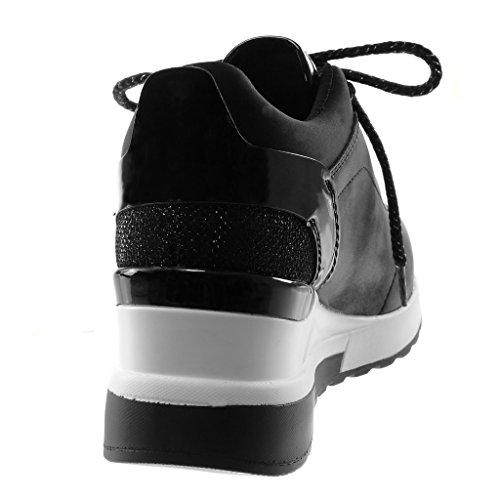 Plateforme Angkorly Talon Femme CM Tennis Sporty 6 Chaussure Mode Brillant Chic Baskets bi Matière compensé qAq4fw7nr