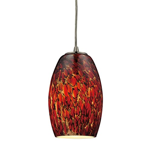 Alumbrada Collection Maui 1 Light Pendant In Satin Nickel And Ember (Luminaria Maui)