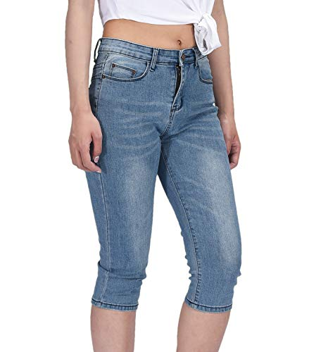 - PHOENISING Women's 3/4 Length Cropped Denim Pants Fashion Comfy Fabric Jeans