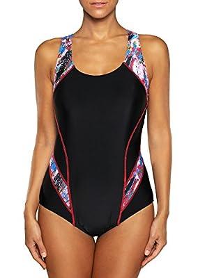 belamo Women's Sport One Piece Swimsuit Racerback Athletic Pro Swimwear