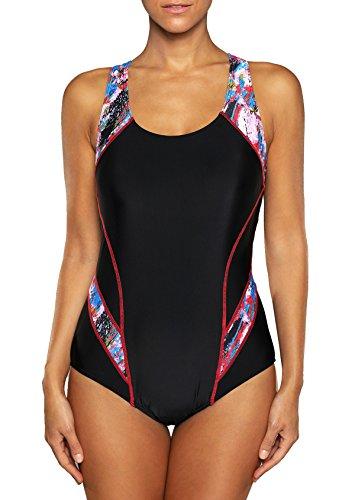 81fadc5db2c belamo Women s Sport One Piece Swimsuit Racerback Athletic Pro Swimwear